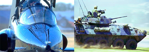 photo montage, jet on runway and army tank in motion